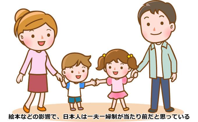 絵本などの影響で日本人は一夫一婦制が当たり前だと思っている
