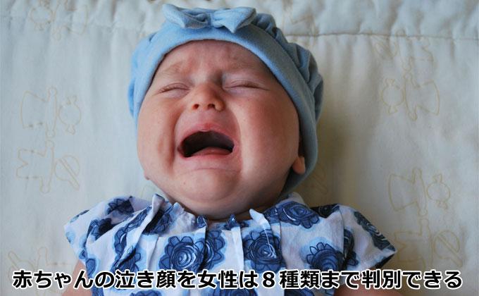 赤ちゃんの泣き顔を女性は8種類まで判別できる