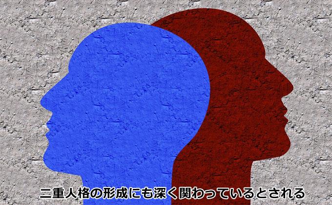 二重人格の形成にも深く関わっているとされる、二重人格者と多重人格者
