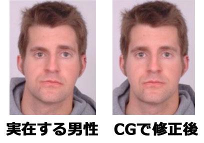 実在する男性、CGで修正後