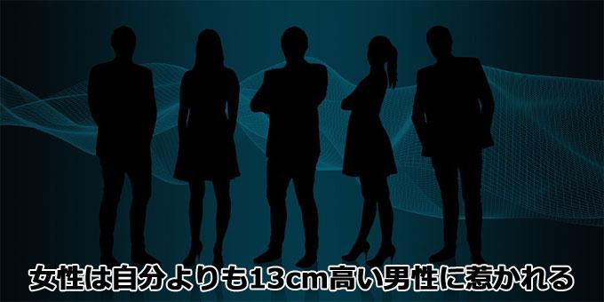 女性は自分よりも13cm身長が高い男性に惹かれる